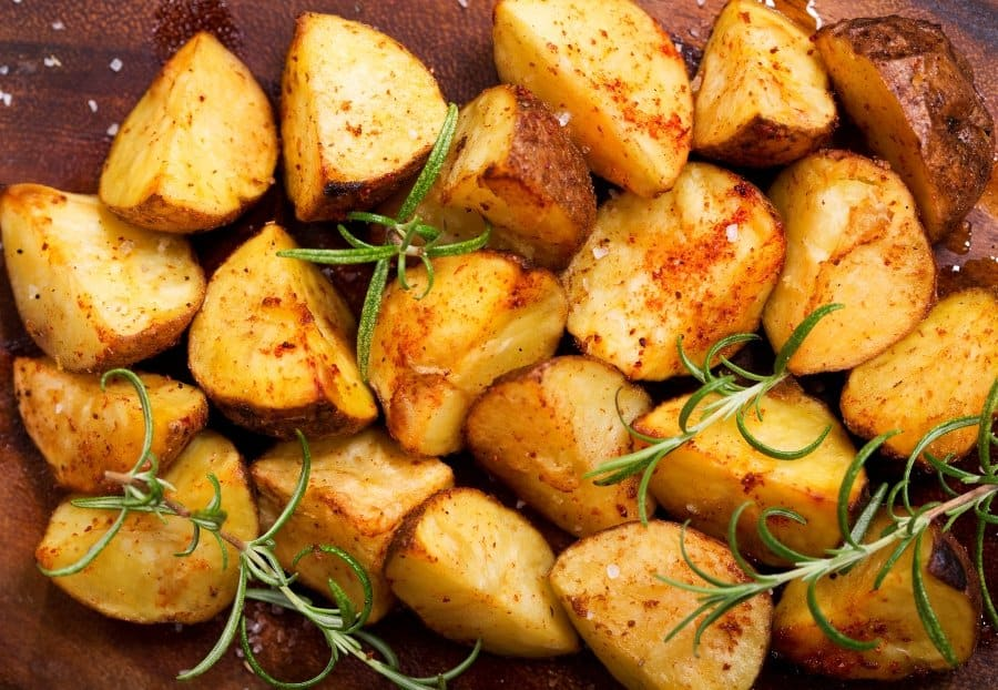 delicious roasted potatoes with chives